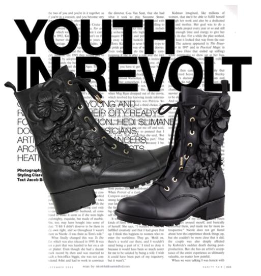 Valentino Flower Detail Combat Boots