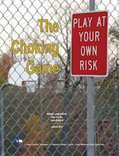 Front cover of the report on The Choking Game, show school yard, the title The Choking Game and Sign that Says Play at Your Own Risk.
