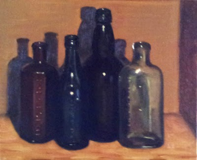 Oil painting of four antique coloured-glass bottles (brown, green, black and transparent with green tinge).