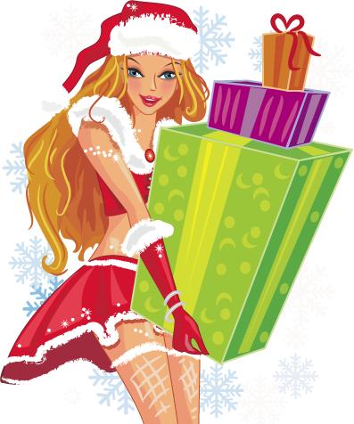 chica Santa Claus con regalos