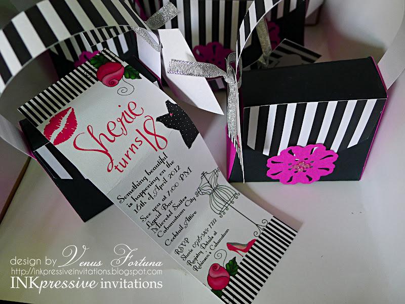 Pink Black Stripes 3D Purse 18th Birthday Invitation