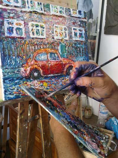 pintando al oleo paisaje urbano