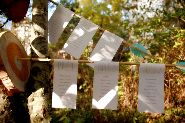 Orange and grey bouquet lovely DIY bow and arrow seating chart