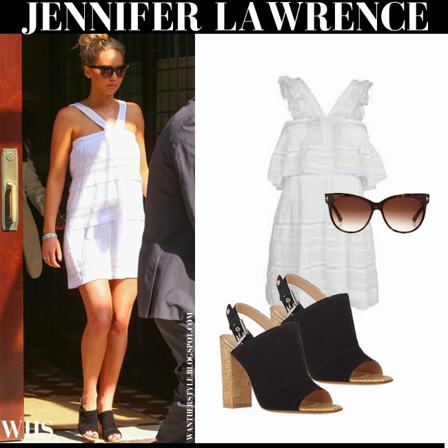 Jennifer Lawrence in white mini Isabel Marant Obira dress with black open toe Gianvito Rossi sandals and Tom Ford Saskia sunglasses what she wore summer boho style