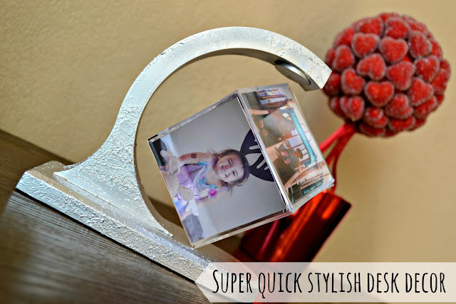Easy last minute DIY Valentine's Day photo gift cube desk decor from Walgreens #HappyHealty #cbias