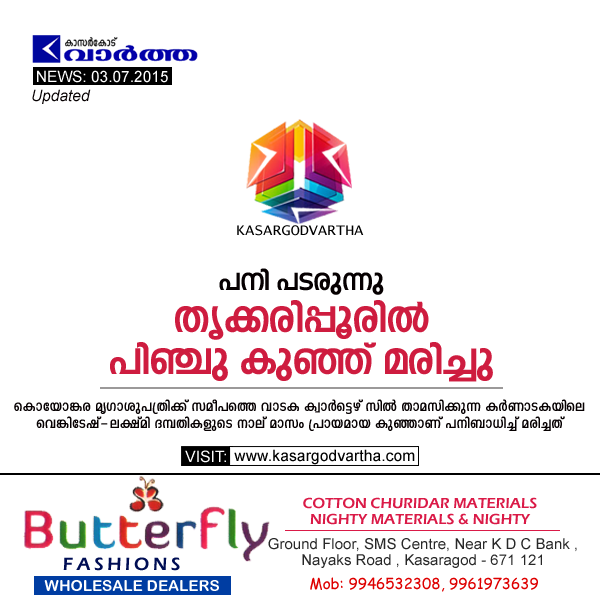 Trikaripur, Obituary, Child, Kerala, Kasaragod, Fiver spreads, Advertisement Butter Fly.