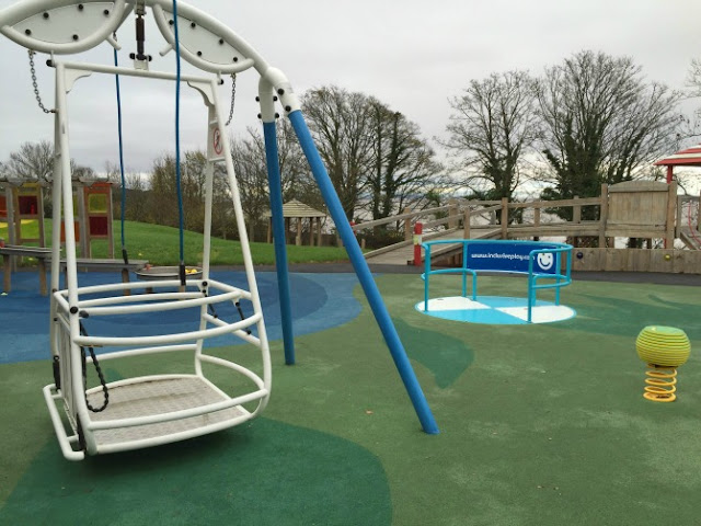 A wheelchair swing at Tŷ Hafan