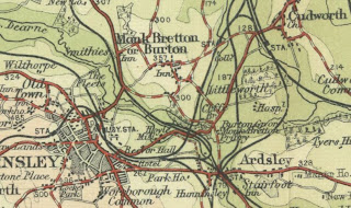 A coloured map snip showing the location of Monk Bretton and Cudworth relative to Barnsley town.