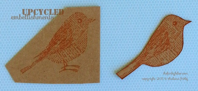 cereal box bird stamp cutout for recycled tag or embellishment by the funky felter