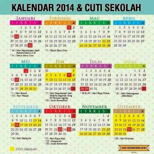 Kalendar 2014 dan cuti sekolah di Malaysia