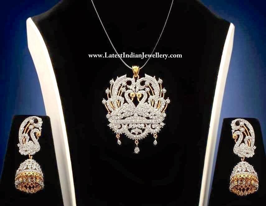 Alluring peacock diamond pendant set peacock diamond pendant set aloadofball Choice Image