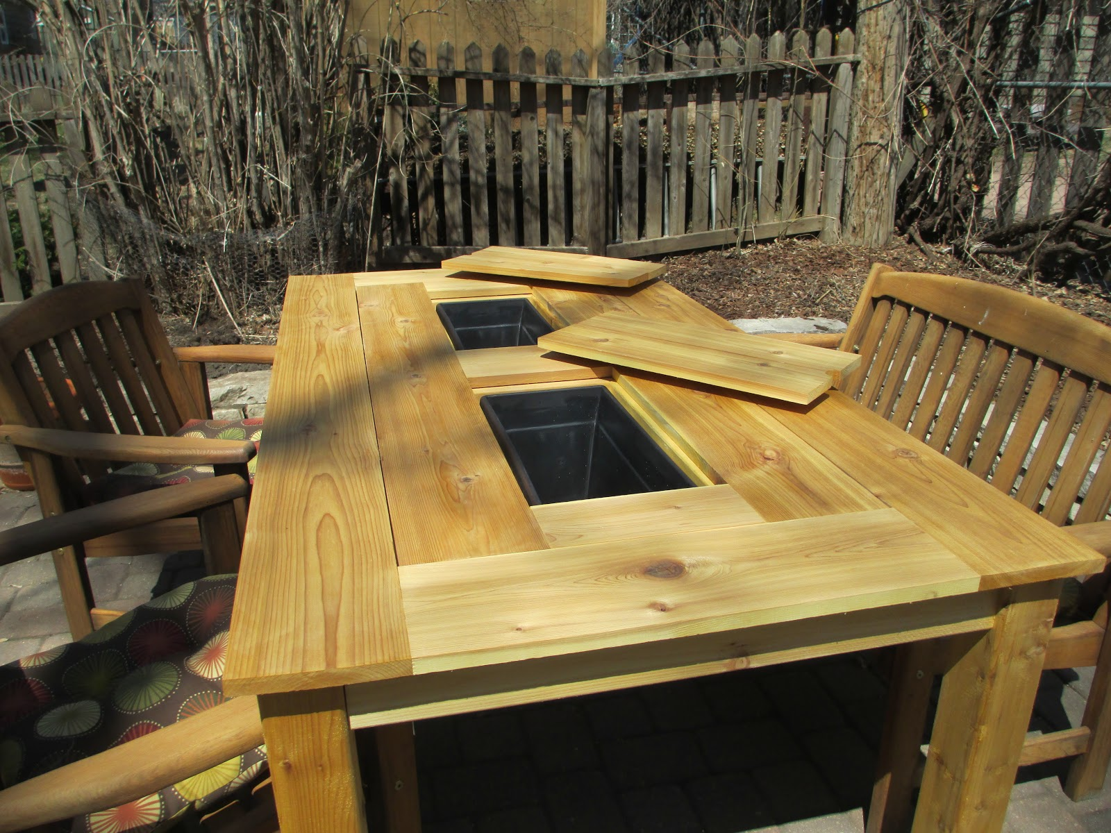 Kruse 39 s workshop patio party table with built in beer for Patio table with built in cooler