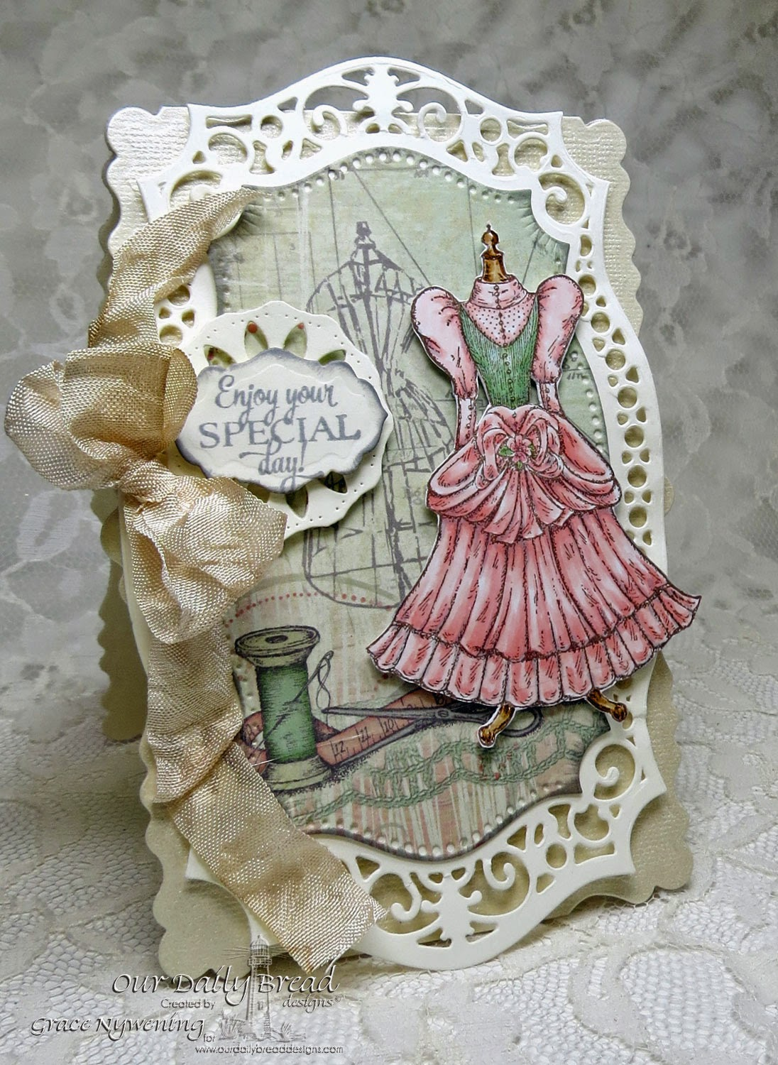 ODBD Stamps: Felicity, Birthday Doily; designed by Grace Nywening