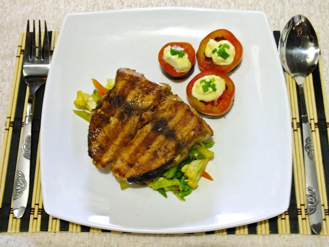 pan seared yellow fin tuna with mixed veggies and eggplant and tomato appetizer