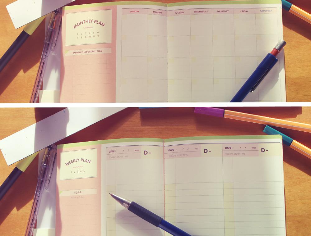 Agenda mensual y semanal bonita