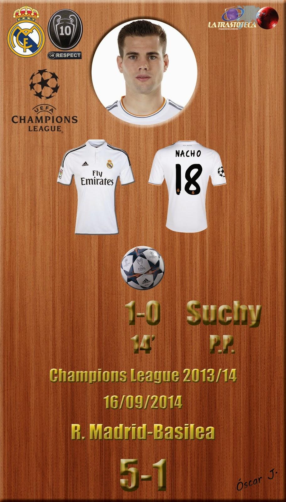 Nacho (1-0) (Gol concedido a Suchy en propia puerta) - Champions League. Jornada 1 (16/09/2014)