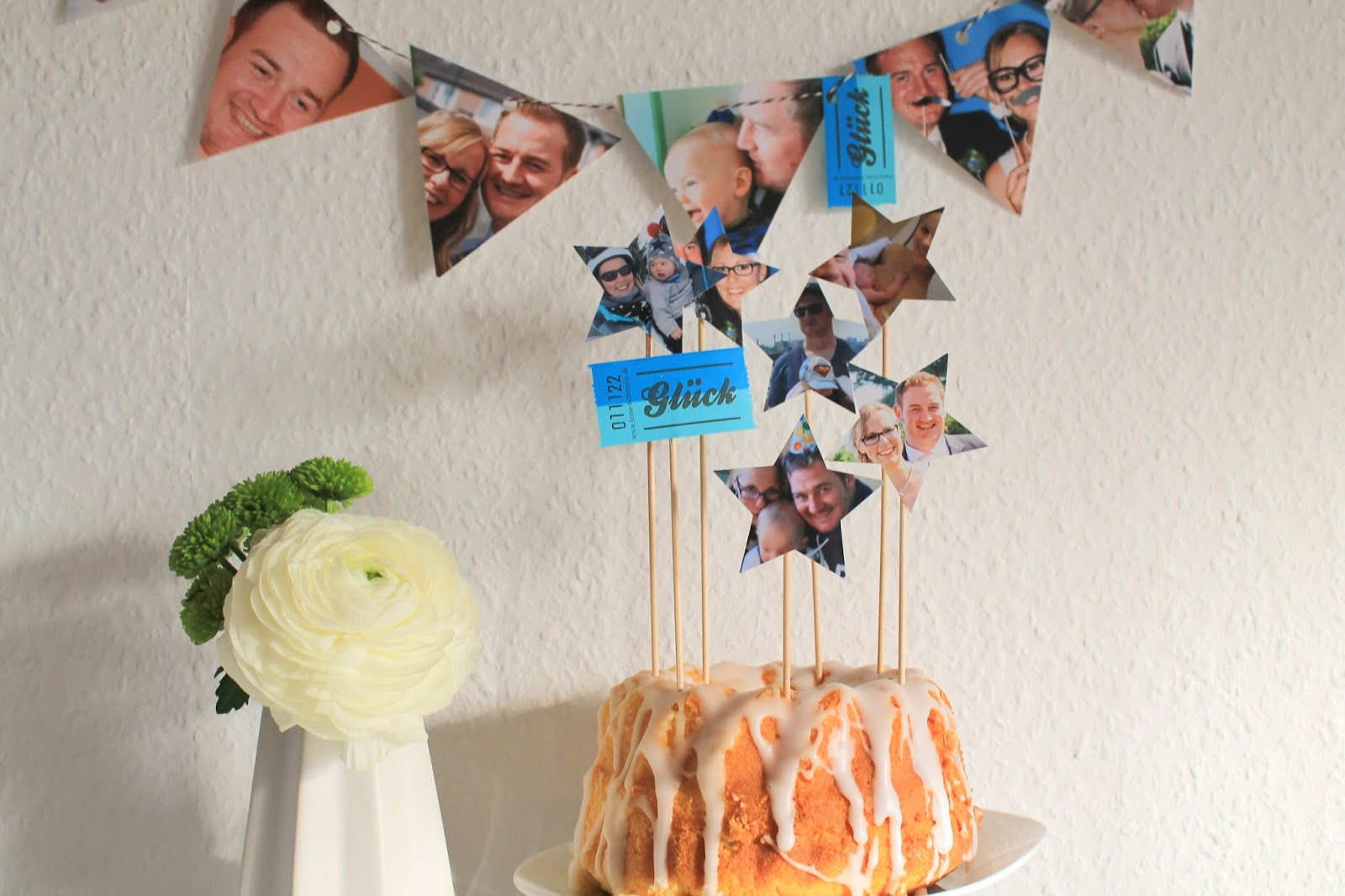 Geburtstagsdeko Kuchen und Blumen