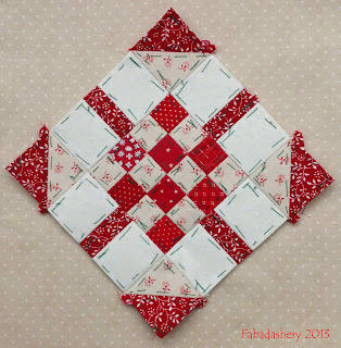Block 12 - Nearly Insane Quilt Red and White