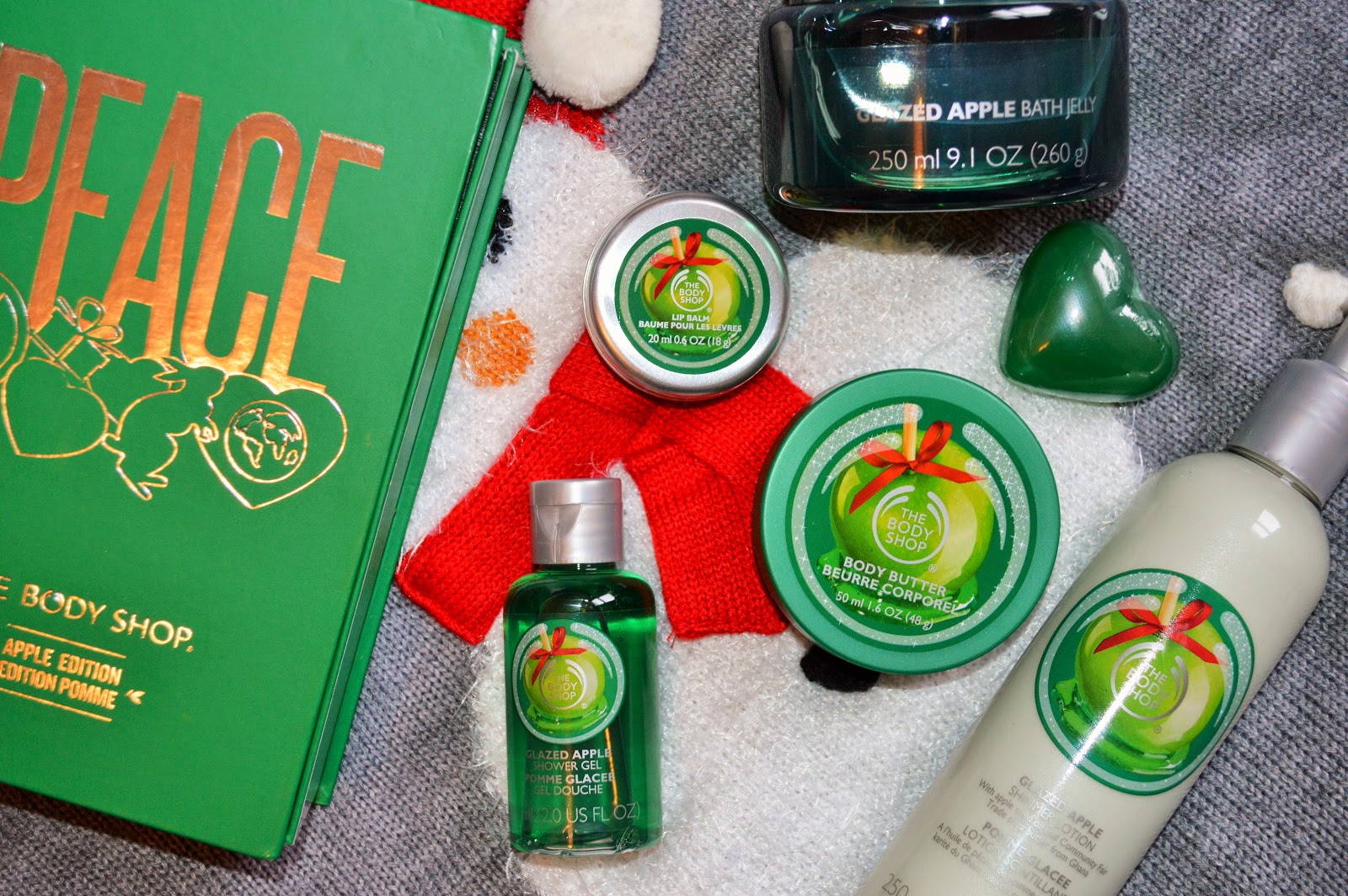 The Body Shop The Schoolbook Of Peace, Glazed Apple Bath Jelly and Glazed Apple Shimmer Lotion