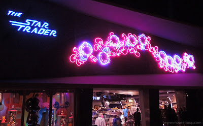 Star Trader shop store Tomorrowland Disneyland neon Mickey