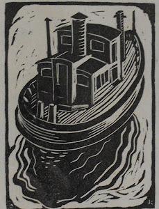 """Boat"" circa 1935 woodblock print by PTown artist Charles Kaeselau"