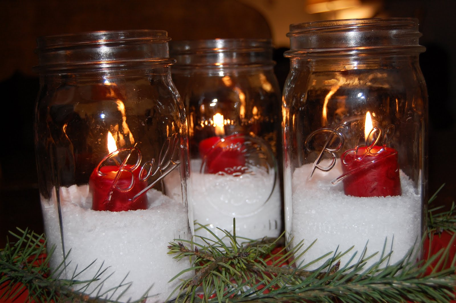 Exquisite mason jar christmas centerpieces table