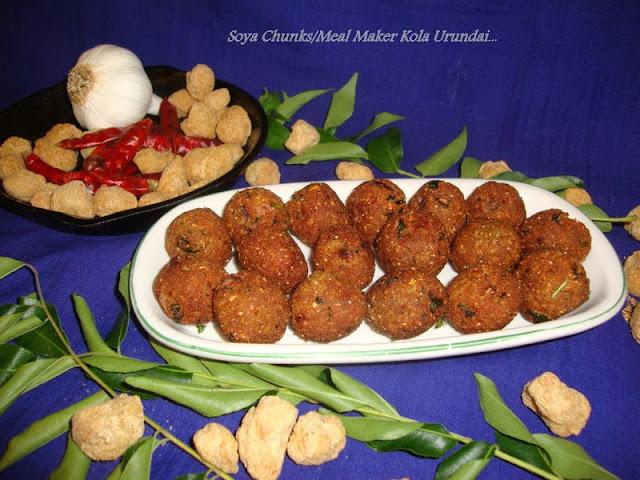 images for Soya Kheema Kola Urundai / Meal Maker Kola Urundai / Soya Kola Urundai / Soy Chunks Urundai / Soya Keema Fritters