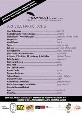 Artistes participants al Festival GodePoesia