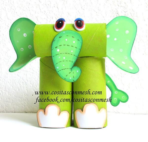 Mil artes mujer como hacer un elefante con tubos de papel - Manualidades con papel craft ...