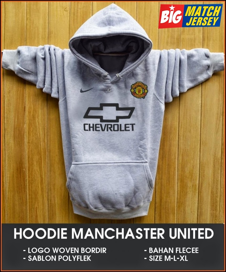 New Hoodie Bola Satu Warna 2014 - 2015 Manchester United Chevrolet Silver