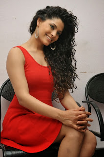 Actress Saiyami Kher  Pictures in Red Short Dress at Rey Movie Trailer Launch  0085