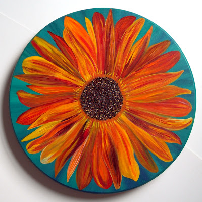 Lazy Susan painted with sunflower motif