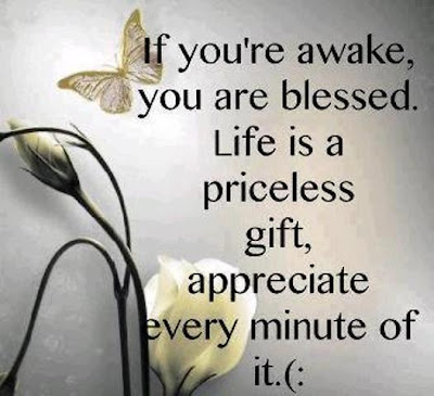 If you're awake, you are blessed. Life is a priceless gift, appreciate every minute of it. (: