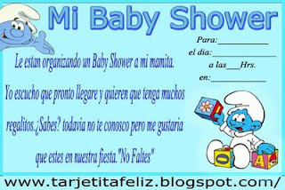 Invitación Baby Shower de Los Pitufos