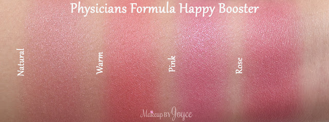 Physicians Formula Happy Booster Rose vs Natural Blush Swatches