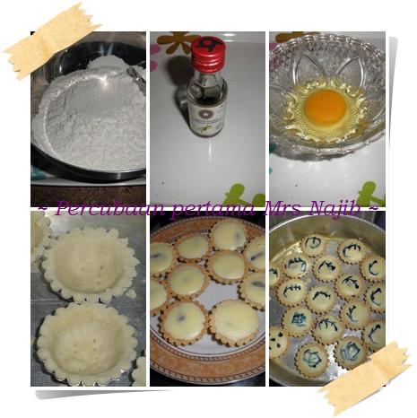 Dimulai dengan membuat bluebery cheese tart giler suke makan tart nie ...