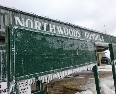 A coating of ice at the top of the gondi Saturday morning.  The Saratoga Skier and Hiker, first-hand accounts of adventures in the Adirondacks and beyond, and Gore Mountain ski blog.