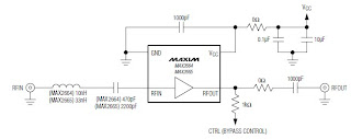 As you can see in the presented circuit diagram , this RF project requires very few external components . Both ICs has a high gain around 15dB and require a single power supply , that can provide an output voltage between 2.4 to 3.5 volts .VHF UHF Low-Noise amplifiers has a very low current consumption of 3.3 mA and can be used in applications like : Smartphones/Handsets , MP3 Players , Home Audio/Video and other portable navigation devices .