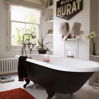 vintage clawfoot tub, black, industrial decor