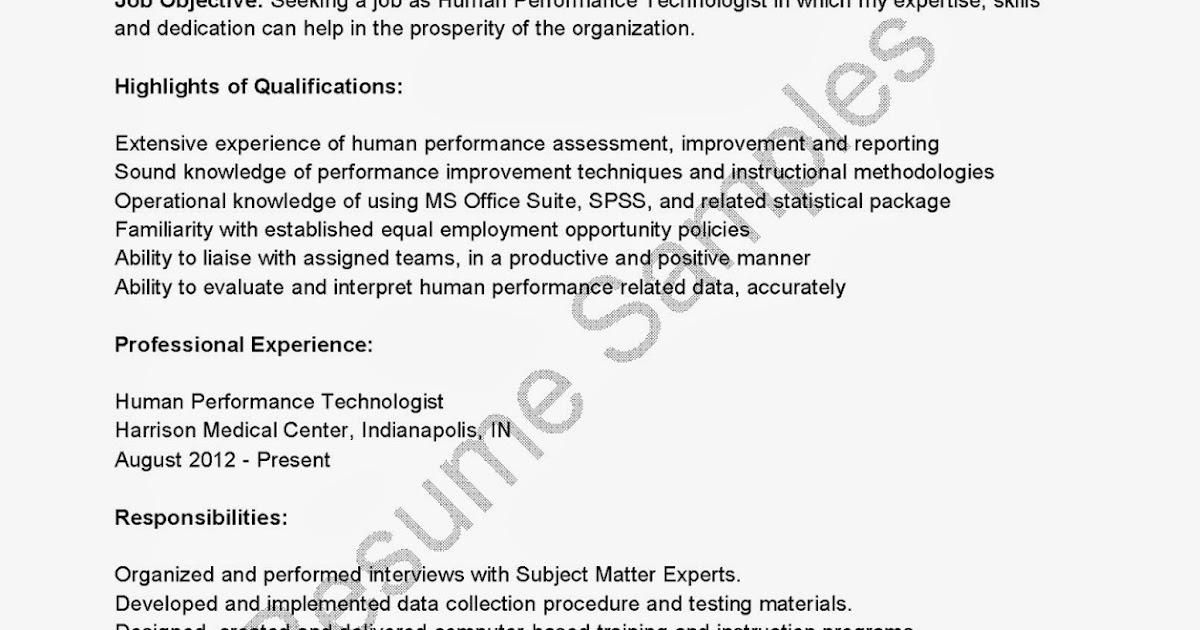 resume sles human performance technologist resume sle