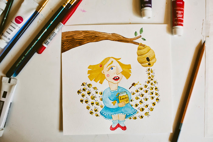 illustration, brittany wood, goauche, watercolors, drawings, honey bees, honey