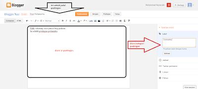 cara memposting artikel di blogger