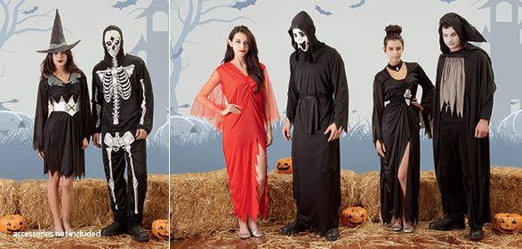 de izquierda a derecha disfraz de bruja en negroplata disfraz de esqueleto tnica larga con raja en color rojo disfraz de segador de almas con mscara