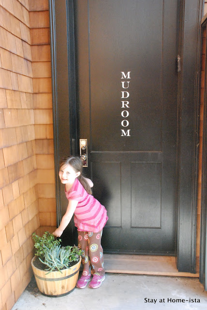 Stay at Home-ista: Mudroom door with vinyl letters and a pot of succulents.