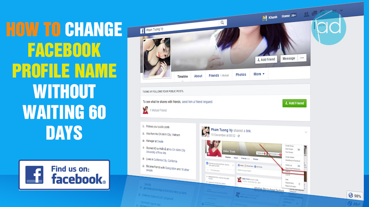 how to change your facebook name without waiting 60 days izdesign. Black Bedroom Furniture Sets. Home Design Ideas