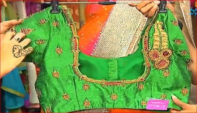 green colour silk designer blouse