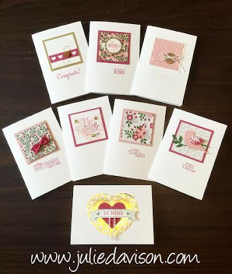 Stampin' Up! Valentine Sampler notecards, 2016 Occasions Catalog -- created by Julie Davison www.juliedavison.com #stampinup