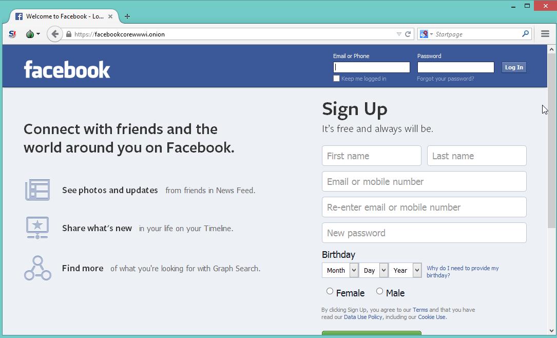 Facebook como hidden service de Tor