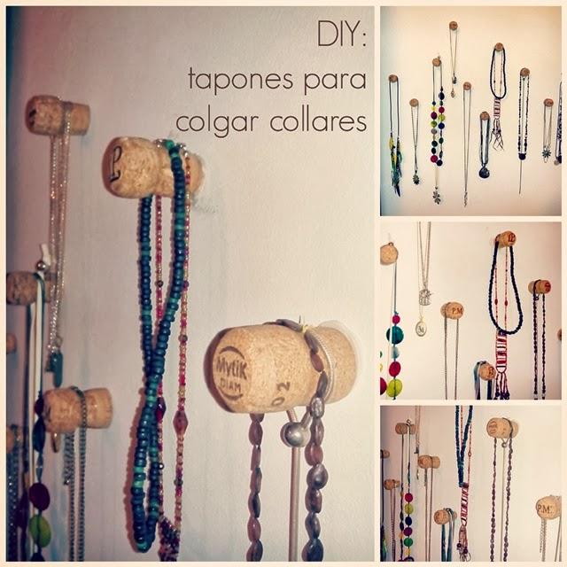 DIY: tapones de champagne en la pared para colgar collares