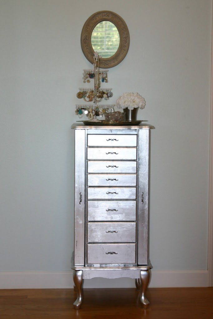 Jen uinely inspired diy silver leaf jewelry cabinet diy silver leaf jewelry cabinet solutioingenieria Choice Image